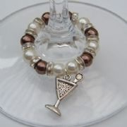 Martini Glass Wine Glass Charm - Full Sparkle Style